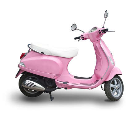 Pink scooter isolated on white