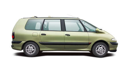 large: Large MPV car isolated on white Stock Photo