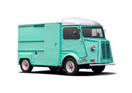 Classic van with vivid color isolated on white Stock Photo