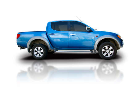 Blue pickup car isolated on white
