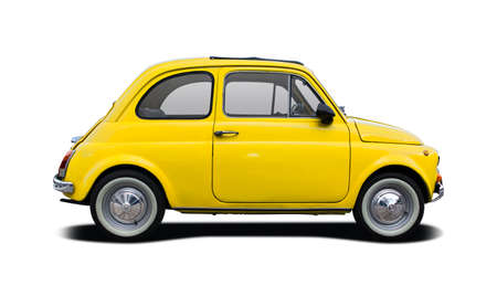 Classic small city car isolated on white Editorial
