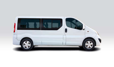 Small city bus van isolated on white