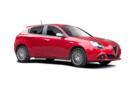 Sport hatchback car side view isolated on white Editorial