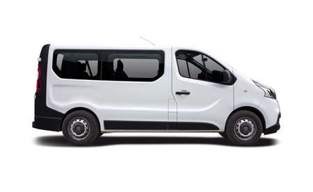 White bus van side view isolated on white