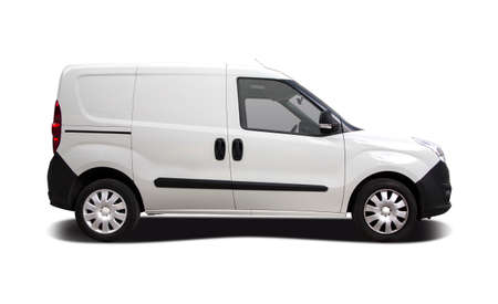 Small city van isolated on white