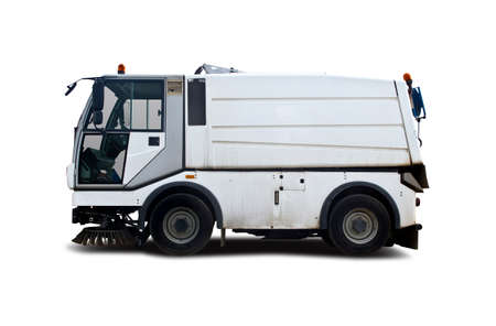 Street sweeper white truck isolated on white