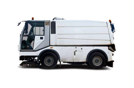 Street sweeper white truck isolated on white Stockfoto - 127529047
