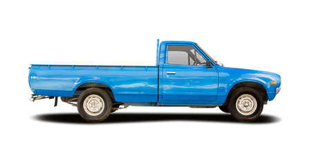 Classic Japanese pickup truck side view isolated on white