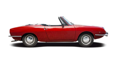 Classic Italian sport cabrio car side view isolated on white