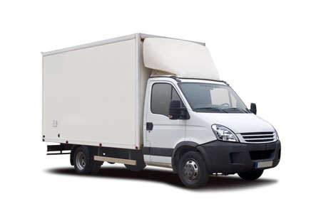 Camion bianco isolato su bianco