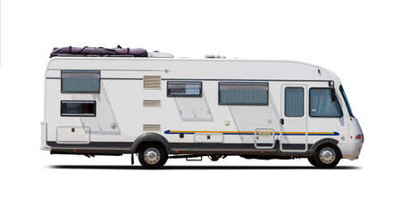 Classic German motorhome side view isolated on white