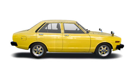 Classic Japanese family car side view isolated on white