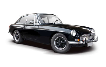 Automobile classica sportiva britannica nera isolata su white