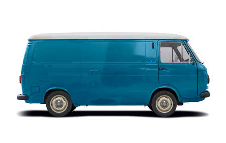 Blue classic Italian van side view isolated on white