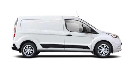 White van side view isolated on white Reklamní fotografie