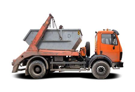 Vue latérale du camion benne de déchets industriels isolated on white