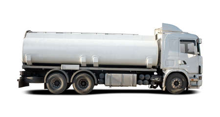 Fuel Tanker side view isolated on white Stock Photo