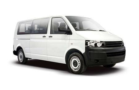 White mini bus side view isolated on white Banque d'images
