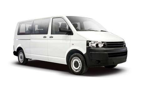 White mini bus side view isolated on white Reklamní fotografie