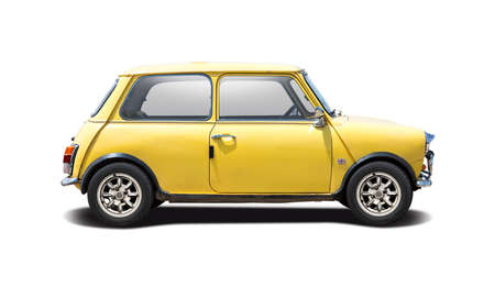 Classic British mini car side view isolated on white