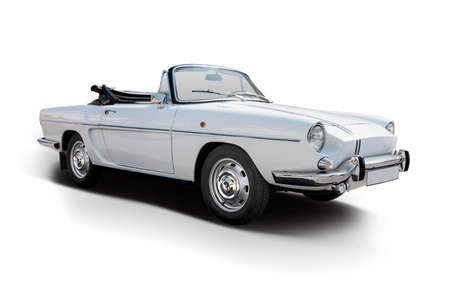 Classic French cabrio car side view isolated on white 免版税图像