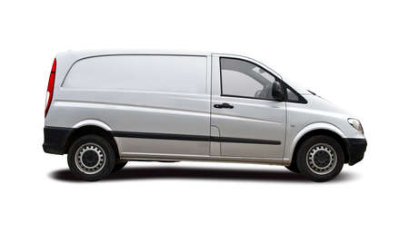 Silver van side view isolated on white ready for branding