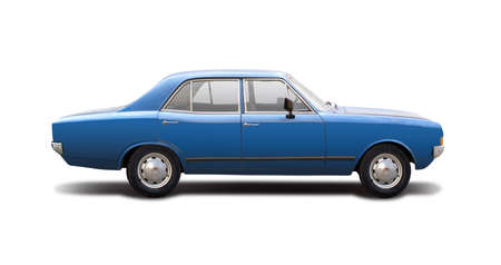 Classic German family car isolated on white