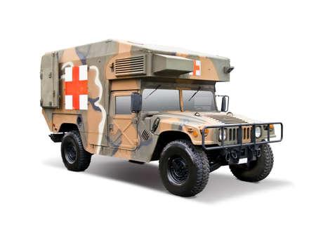 Army medical vehicle isolated on white
