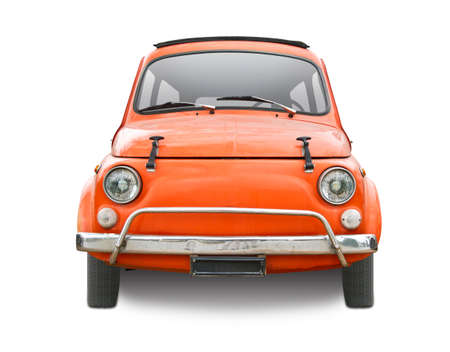 Classic Italian mini car front view isolated on white