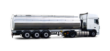 Fuel Tanker truck side view isolated on white