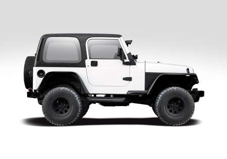American off road vehicle side view isolated on white Stock Photo