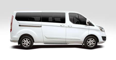 White mini bus side view isolated on white