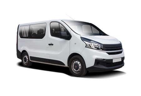 White mini bus isolated on white