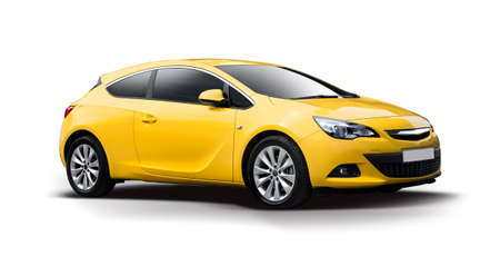 Yellow sport hatchback car isolated on white
