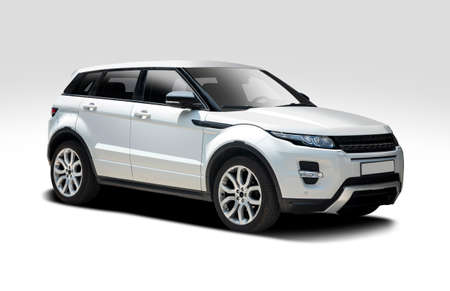 British white SUV car isolated on white