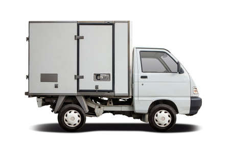 Small refrigerated truck isolated on white