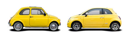 Yellow classic car vs new car side view isolated on white