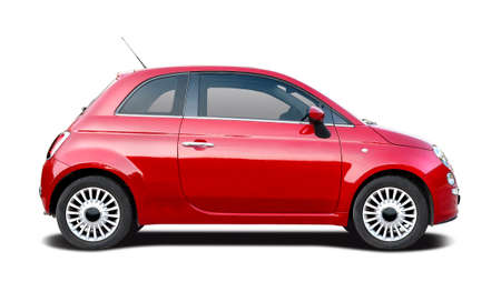 Italian red small hatchback car side view isolated on white Stock Photo