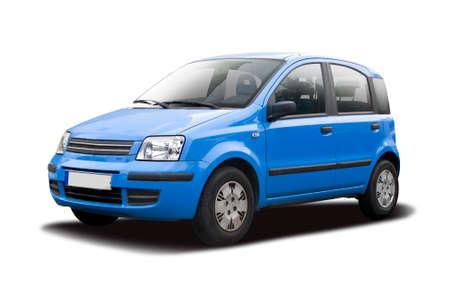 Blue Italian hatchback car isolated on white