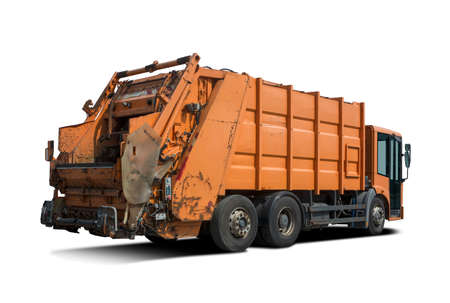 Orange garbage truck side view isolated on white