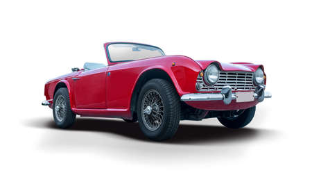 Classic red British roadster cabrio car isolated on white background Stock Photo