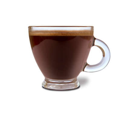 Glass with espresso coffee isolated on white background
