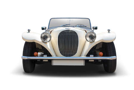 Antique cabrio car front view isolated on white background