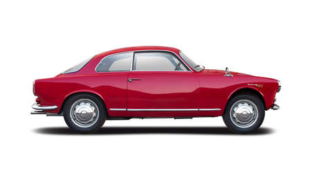 Red classic Italian sport car side view isolated on white