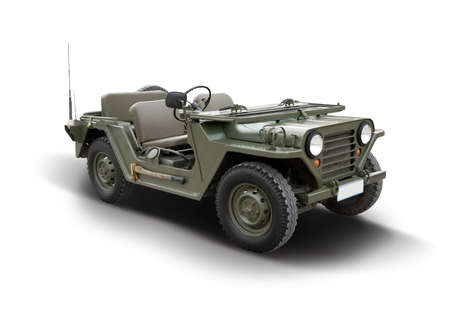 Classic American military vehicle isolated on white background Stock Photo