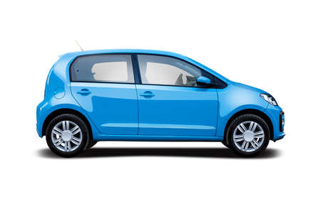 Small hatchback city car side view isolated on white background