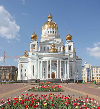 theodor: Russia  Mordovia republic  St, Theodor Ushakov cathedral and his monument in Saransk Stock Photo
