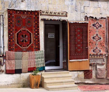 baku: Azerbaijan  Baku, City streets veiw Carpet shop Stock Photo
