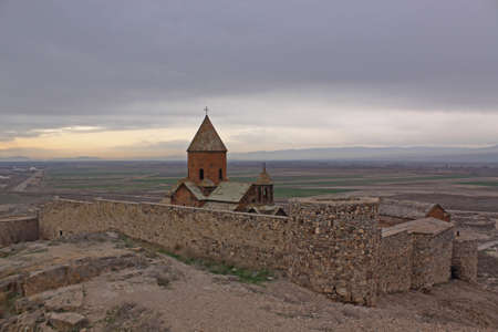 Armenian Khor Virap monastery near Ararat mount photo