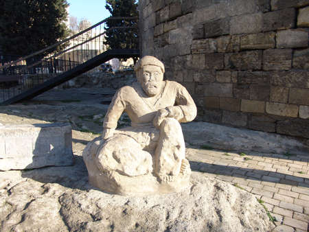 baku: Azerbaijan  Baku  Old sculpture near Maiden tower                Editorial